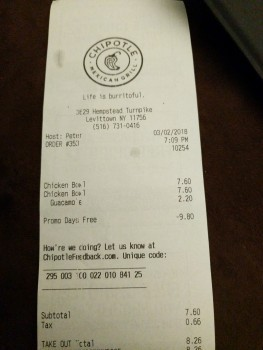 Chipotle Mexican Grill, Hempstead Turnpike, Levittown, NY, USA photo-100097 Got Food Poisoning? Report it now