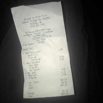 Chick-fil-A, 2000 Cameron St, Raleigh, NC, USA photo-101225 Got Food Poisoning? Report it now