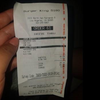 Burger King, North San Fernando Road, Los Angeles, CA 90065, USA photo-101264 Got Food Poisoning? Report it now