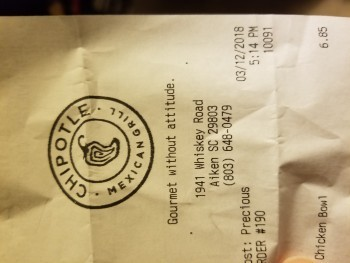 Chipotle Mexican Grill, Whiskey Road, Aiken, SC, USA photo-101701 Got Food Poisoning? Report it now