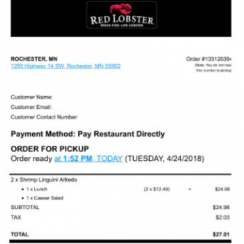 Red Lobster, Rochester, MN, USA photo-111291 Got Food Poisoning? Report it now