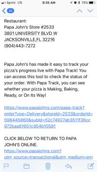 Papa John's Pizza, 3801 University Boulevard West, Jacksonville, Florida, USA photo-111844 Got Food Poisoning? Report it now