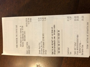 Chipotle Mexican Grill, Monticello Avenue, Rancho Cucamonga, CA, USA photo-112485 Got Food Poisoning? Report it now