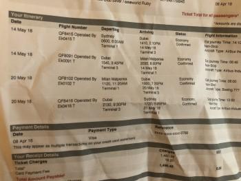 Emirates flight EK0091 May 14 Dubai to Milan photo-115384 Got Food Poisoning? Report it now
