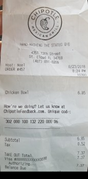 Chipotle Mexican Grill, 13th Street, Saint Cloud, FL, USA photo-142420 Got Food Poisoning? Report it now