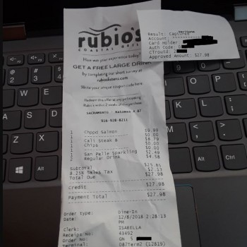Rubio's Coastal Grill, Truxel Road, Sacramento, CA, USA photo-151122 Got Food Poisoning? Report it now