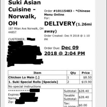 Suki Asian Cuisine, Milan Avenue, Norwalk, OH, USA photo-151500 Got Food Poisoning? Report it now