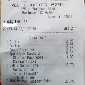 Red Lobster, North Burleson Boulevard, Burleson, TX, USA photo-152995 Got Food Poisoning? Report it now