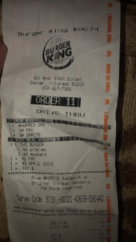 Burger King, West 84th St, Thornton, CO, USA photo-156600 Got Food Poisoning? Report it now