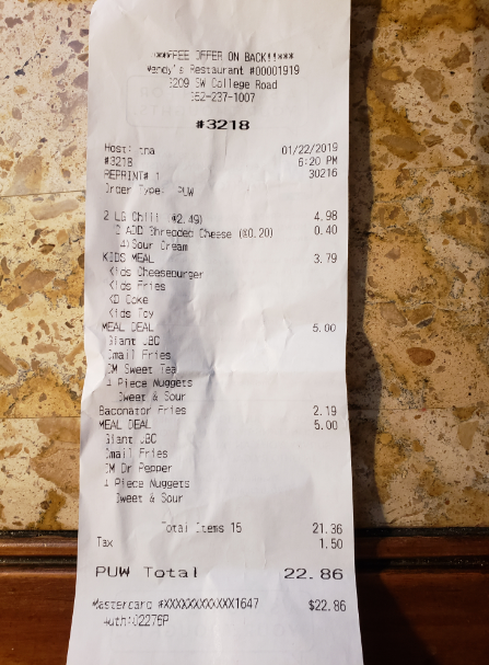 Wendy's, 3209 SW College Rd, Ocala, FL 34474, USA photo-161098 Got Food Poisoning? Report it now