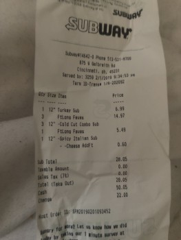 Subway, West Galbraith Road, Finneytown, OH, USA photo-163558 Got Food Poisoning? Report it now