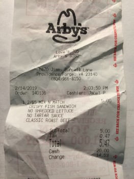 Arby's 6870 Jimmy Burrell Lane Providence Forge Va 23140 photo-168043 Got Food Poisoning? Report it now