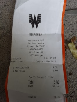 Whataburger, U.S. 80, Forney, TX, USA photo-168107 Got Food Poisoning? Report it now