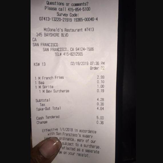 McDonald's, Bayshore Boulevard, San Francisco, CA, USA photo-169399 Got Food Poisoning? Report it now