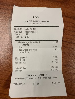 In-N-Out Burger, Artesia Boulevard, Gardena, CA, USA photo-172277 Got Food Poisoning? Report it now