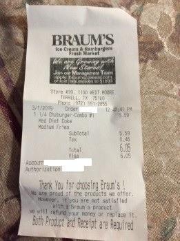 Braum's Ice Cream & Burger Restaurant, West Moore Avenue, Terrell, TX, USA photo-173026 Got Food Poisoning? Report it now