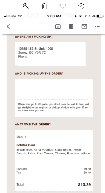 Chipotle Mexican Grill, 152 Street, Surrey, BC V3R 7C1, Canada photo-176516 Got Food Poisoning? Report it now