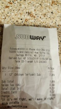 Subway Restaurants, Grand Central Avenue, Owings Mills, MD, USA photo-181804 Got Food Poisoning? Report it now