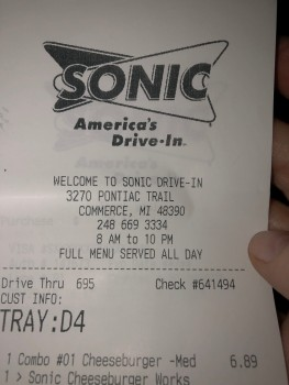 Sonic Drive-In, North Pontiac Trail, Commerce, MI, USA photo-182203 Got Food Poisoning? Report it now