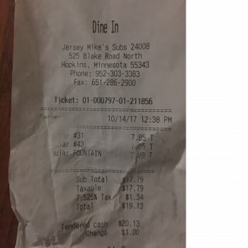 Jersey Mike's Subs, 525 Blake Rd N, Hopkins, MN, United States photo-77928 Got Food Poisoning? Report it now