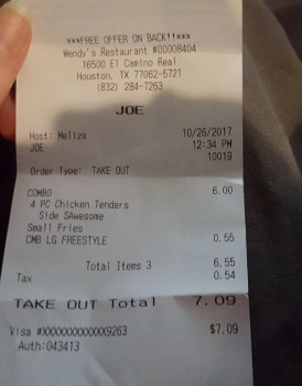 Wendy's, El Camino Real, Houston, TX, United States photo-79119 Got Food Poisoning? Report it now