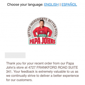 Papa John's Pizza, Frankford Road, Dallas, TX, United States photo-79561 Got Food Poisoning? Report it now