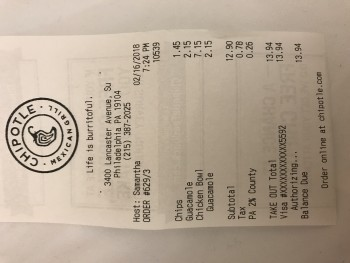 Chipotle Mexican Grill, Lancaster Avenue, Philadelphia, PA, USA photo-97893 Got Food Poisoning? Report it now